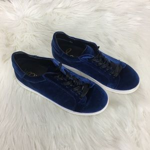 Sam Edelman Blue Marlow Velvet Sneakers Size 8